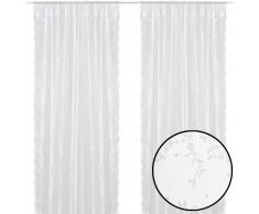 vidaXL 2 cortinas blancas con motivos florales, 140 x 245 cm