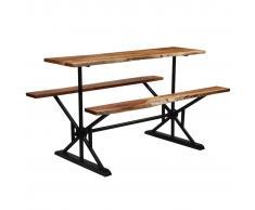 vidaXL Mesa de bar con bancos madera maciza de acacia 180x50x107 cm
