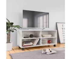 vidaXL Mueble de TV con ruedas aglomerado blanco brillante 90x35x35 cm