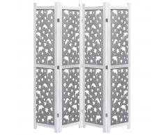 vidaXL Biombo de 4 paneles de madera maciza gris 140x165 cm