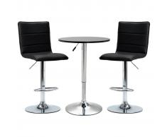 vidaXL Set de mesa alta y taburetes de bar 3 piezas cuero sintético negro