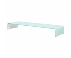 vidaXL Soporte para TV/Elevador monitor cristal blanco 100x30x13 cm
