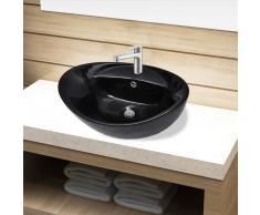 vidaXL Lavabo de cerámica con agujero para grifo/desagüe negro ovalado