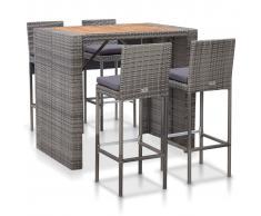 vidaXL Muebles de bar jardín 5 pzas ratán sintético madera acacia gris