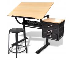 vidaXL Escritorio inclinable con tablero de dibujo y taburete mesa de dibujo