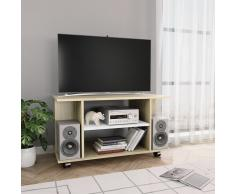 vidaXL Mueble de TV con ruedas aglomerado blanco y Sonoma 80x40x40 cm