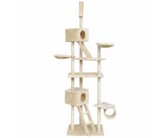 vidaXL Rascador para gatos 230-260 cm 2 casas beige