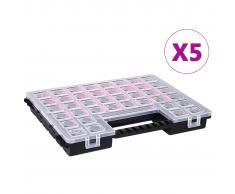 vidaXL Caja compartimentos 5 uds divisores plástico 385x283x50 mm