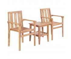 vidaXL Juego de mesa y sillas de jardín 3 piezas madera de teca maciza