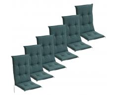 vidaXL Cojín para sillas de jardín 6 unidades 117x49 cm azul