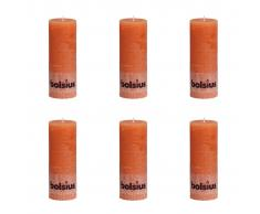 Bolsius Velas rústicas 190x68 mm 6 unidades naranjas