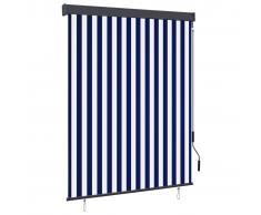 vidaXL Estor enrollable de exterior azul y blanco 140x250 cm