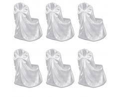 vidaXL Set de 6 Fundas blancas para sillas, banquetes y bodas