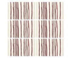 vidaXL Manteles individuales 6 uds algodón burdeos y blanco 30x45 cm