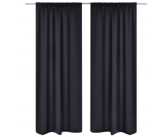 vidaXL 2 cortinas negras oscuras con jaretas, blackout 135 x 245 cm