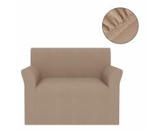vidaXL Funda elástica para sofá beige piqué
