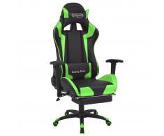 vidaXL Silla de escritorio reclinable Racing con reposapiés verde