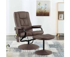 vidaXL Sillón de masaje con reposapiés de cuero artificial marrón