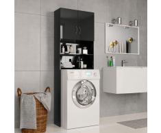 vidaXL Armario de lavadora aglomerado negro brillante 64x25,5x190 cm