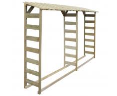vidaXL Caseta para leña doble 300x44x176 cm madera de pino impregnada