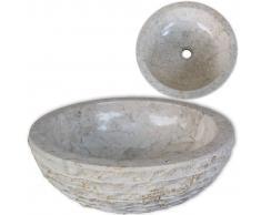 vidaXL Lavabo de mármol color crema 40 cm