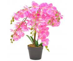 vidaXL Planta artificial orquídea con macetero rosa 60 cm