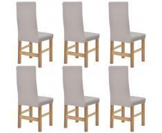 vidaXL fundas elásticas para sillas con respaldo 6 unidades (Beige)