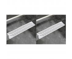 vidaXL Desagüe lineal ducha 2 pzas curvas 530x140 mm acero inoxidable