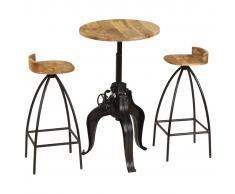 vidaXL Juego de muebles de bar madera maciza mango 3 piezas