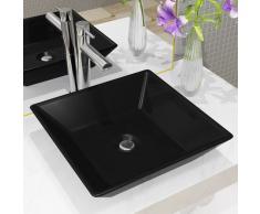 vidaXL Lavabo cuadrado de cerámica negro 41,5x41,5x12 cm