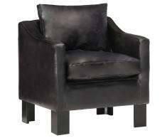 vidaXL Sillón con diseño de cubo cuero auténtico negro