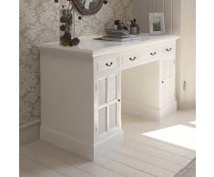 vidaXL Escritorio elegante de madera blanca con puertas y cajones