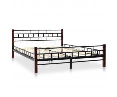 vidaXL Estructura de cama de metal y somier 140x200 cm poste madera