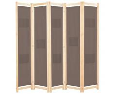 vidaXL Biombo divisor de 5 paneles de tela marrón 200x170x4 cm