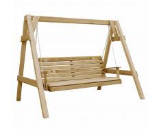 vidaXL Columpio de asiento jardín madera pino impregnada FSC