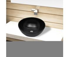 vidaXL Lavabo de cerámica negro redondo