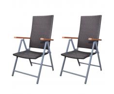 vidaXL Set muebles de jardín silla poli ratán marrón 2 pzas marco aluminio