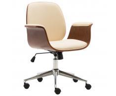 vidaXL Silla de oficina de madera curvada y cuero sintético crema