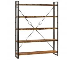 vidaXL Estantería de 5 niveles 140x30x180 cm madera maciza reciclada