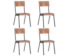 vidaXL Sillas de comedor 4 uds madera contrachapada y acero marrón