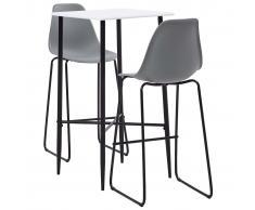 vidaXL Juego de mesa alta y taburetes 3 piezas plástico gris