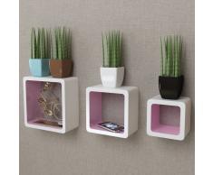vidaXL 3 cubos estantes exhibidores flotantes de tablero DM blanco-rosa
