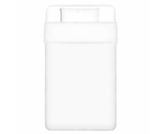 vidaXL set funda edredón 2 piezas algodón blanco 155x200/60x70 cm
