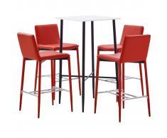 vidaXL Juego de mesa alta y taburetes 5 piezas cuero sintético rojo
