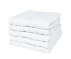 vidaXL 5 Toallas de algodón color blanco, 70 x 140 cm, 500gr/m²