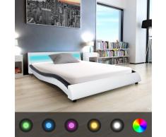 vidaXL Cama con LED y colchón cuero artificial 140x200 cm blanca/negra