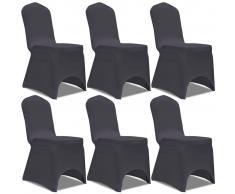 vidaXL Funda de silla elástica 6 unidades gris antracita