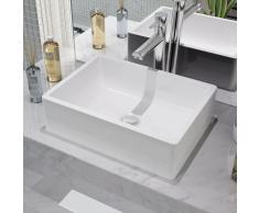 vidaXL Lavabo de cerámica 41x30x12 cm blanco