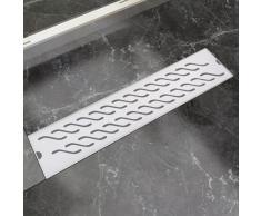 vidaXL Desagüe lineal de ducha ondas 530x140 mm acero inoxidable
