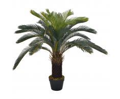 vidaXL Planta artificial palmera cica con macetero 90 cm verde